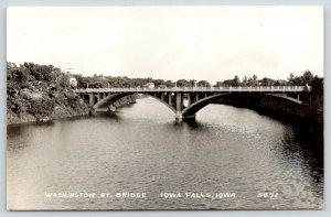 Iowa Falls Iowa~Washington Street Bridge~Homes on River Bank~1940s RPPC