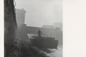 1950s Boat Anchored on Grand Union Canal Photo Postcard