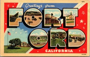 RARE - GREETINGS From Fort Ord Monterey California Postcard WW2 ERA BIG LETTER