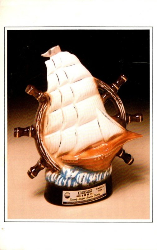Advertising Jim Beam Whiskey Ship's Wheel 1980 Convention Bottle