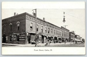 Galva IL~Loomis, Riner & Emery Real Estate~Fancy Roofs~Hanging Light~c1910 B&W