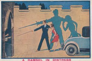 A Damsel In Distress Swashbuckling Silhouette Sword Fighting Old Comic Postcard