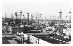Kilgore Texas~Downtown Businesses~Oil Rigs~1930s Cars~Real Photo Postcard~RPPC