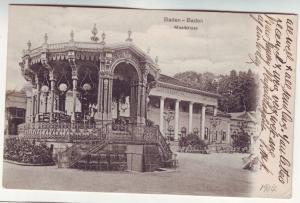 P380 JL postcard 1904 used germany baden - baden musikkiosk