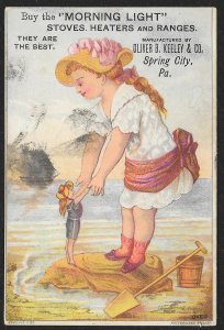 VICTORIAN TRADE CARD Morning Light Stoves Giant Girl Greeting Tiny Lady At Beach