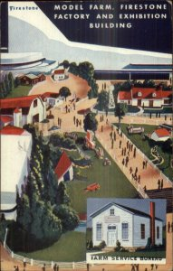 1939 New York World's Fair Firestone Factory Farm Service Bureau Postcard