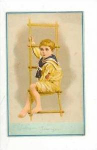 TC,Young Boy In Sailor Suit Sits on Rope Lader, 1890s