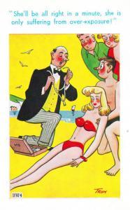 Doctor Kiss Of Life Sun Over Exposure Fainted Sexy Comic Humour Seaside Postcard