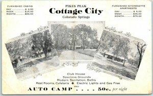 Colorado Springs CO Postcard PIKES PEAK COTTAGE CITY Roadside c1930s UNUSED