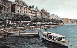 Switzerland Old Vintage Antique Post Card Perspective du grand Quai Unused