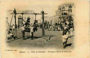 CPA AK Djibouti- Montagnes Russes et balancoire SOMALIA (831372)