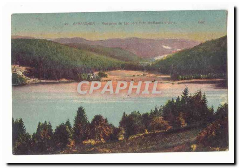 Gerardmer Old Postcard View from the lake towards Eche of Ramberchamp