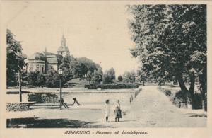 ASKERSUND - Hamnen och Landskyrkan , Sweden , PU-1911