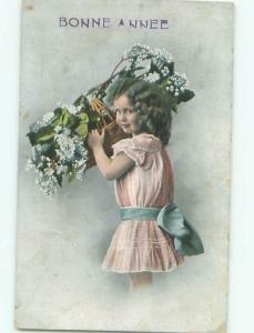 foreign 1912 Postcard FRENCH GIRL CARRYING FLOWER BASKET AC2701