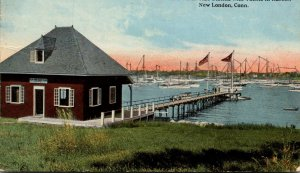 Connecticut New London New York Yacht Club Station With Yachts In Harbor 1915...