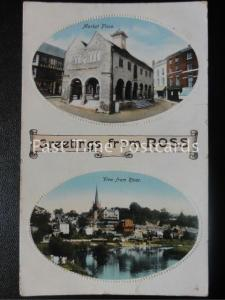 c1914 - Greetings from Ross, Double Oval Images, Market Place & River