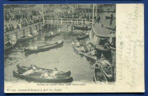 Canoes at Leschi Park Lake Washington Seattle wa postmarked 1906 old postcard