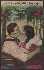 I Hate Work,But ILove You,Couple Kissing Postcard