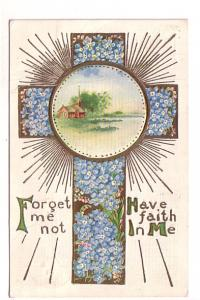Cross Made of Tiny Blue Flowers, Embossed, Have Faith In Me