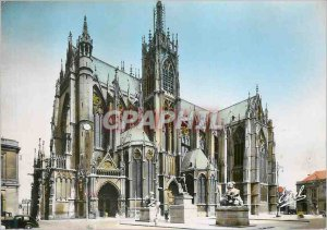 Modern Postcard Metz cathedral St Etienne frontage on the square of weapons S...