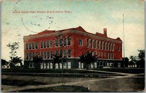 Grand Island, Nebraska Postcard GRAND ISLAND HIGH SCHOOL Street View 1912 Cancel