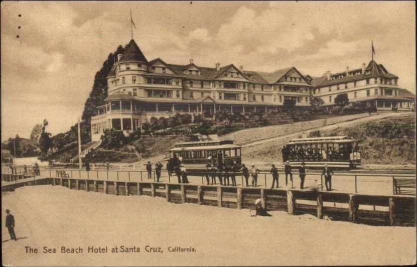 santa cruz sea beach hotel at santa cruz c1910 postcard. Black Bedroom Furniture Sets. Home Design Ideas