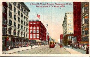 Washington D C Trolley On G Street At Eleventh Looking Toward U S Patent Offi...