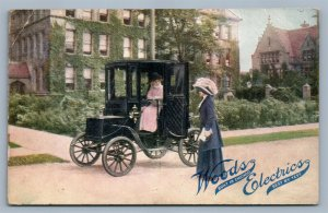 WOODS ELECTRICS ADVERTISING CHICAGO IL ANTIQUE POSTCARD early horseless carriage