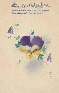 Best BIRTHDAY Love, 1900-10s; Purple and yellow Pansy