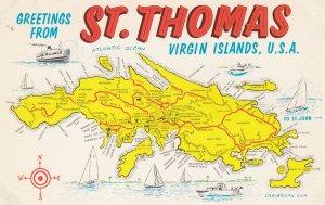 Map , ST THOMAS , Virgin Islands , U.S.A. , 50-60s