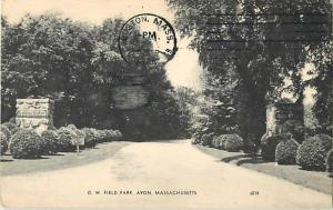 D.W. Field Park Avon Massachusetts MA 1969 Divided Back