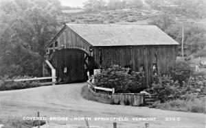 NORTH SPRINGFIELD VERMONT COVERED BRIDGE-REAL PHOTO POSTCARD