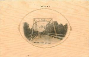 Velva North Dakota~Mouse River Steel Bridge~Road View~Rails~Woodgrain Back~1912