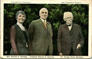Vtg Carte Postale 1920s - President & Mme. Warren G.Harding,Dr George Tyron