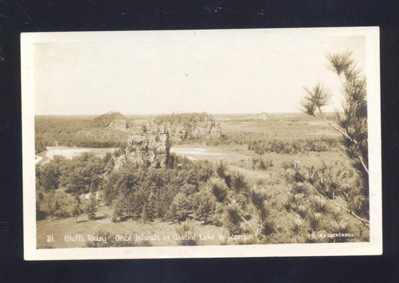 RPPC GLACIAL LAKE WISCONSIN BLUFFS TODAY ONCE ISLANDS REAL PHOTO POSTCARD
