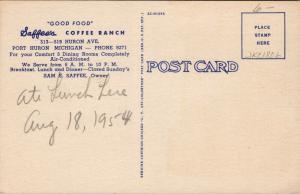 Port Huron Michigan~Saffee's Dinette~Art Deco~Lunch Counter~Coffee~1950 Linen PC