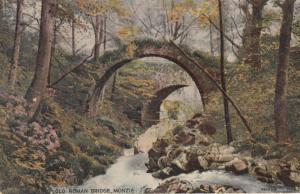 Roman Bridge Monzie & Beautiful 1927 Message Scottish Antique Postcard