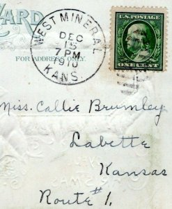 1910 WEST MINERAL KANSAS POSTMARK Labette Callie Brumley Christmas Postcard JF