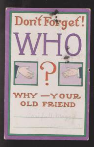 Comic Postcard - Don't Forget Who - Used 1910