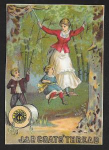 VICTORIAN TRADE CARD JP Coats Thread Woman & Kids on Swing in Woods c1881