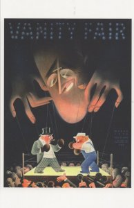 Puppet Boxing Match Art Deco 1930s Painting Book Cover Postcard