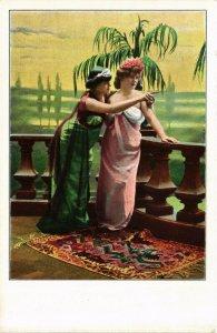 PC CPA ARABIAN TYPES AND SCENES, DANCER LADIES, Vintage Postcard (b17422)
