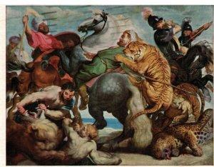 Postcard - Tiger Hunt, Peter Paul Rubens, Flemish Hartford, Connecticut