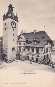 LUZERN, Switzerland, 1900-1910's; Rathhaus, Clock Tower, Expositon Des Beaux-...