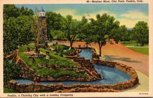 Colorado Pueblo City Park Monkey Moat 1948 Curteich