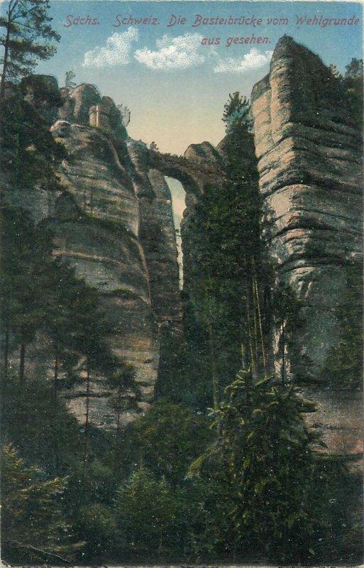 Sachs Schweiz Die Basteibrucke Postcard