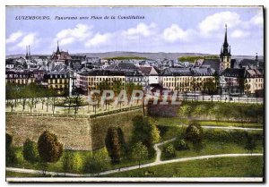 Old Postcard Panorama with Luxembourg Constitution Square