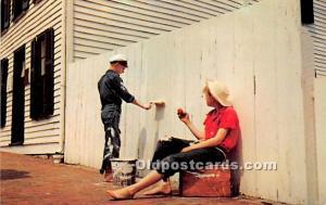 Tom Sawyer watches Joe Harper whitewash the fence Hannibal, Missouri, MO, USA...