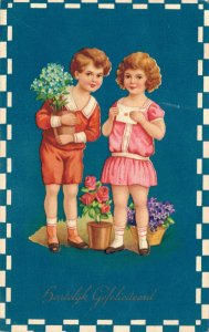 Victorian Style Kids With Flowers Boy Girl Vintage Postcard 06.48