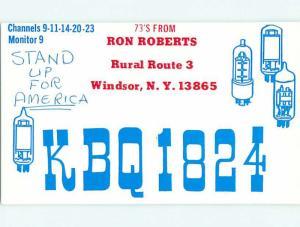 comic - QSL CB HAM RADIO CARD Windsor New York NY t9209